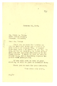 Thumbnail of Letter from Madeline G. Allison to Frank A. Young