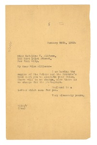 Thumbnail of Letter from W. E. B. Du Bois to Madeline G. Allison
