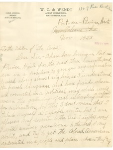 Thumbnail of Letter from Bertha V. De Wendt to the editor of the Crisis