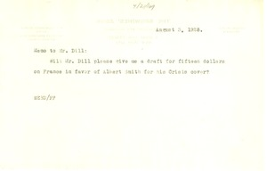 Thumbnail of Memo from W. E. B. Du Bois to Augustus Granville Dill