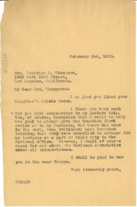 Thumbnail of Letter from W. E. B. Du Bois to Beatrice S. Thompson
