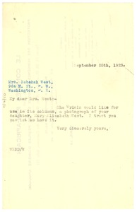 Thumbnail of Letter from W. E. B. Du Bois to Rebekah West