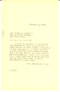 Thumbnail of Letter from W. E. B. Du Bois to Harry T. Burleigh