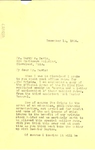 Thumbnail of Letter from W. E. B. Du Bois to Harry E. Davis