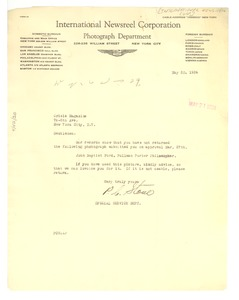 Thumbnail of Letter from International Newsreel Corporation to Crisis