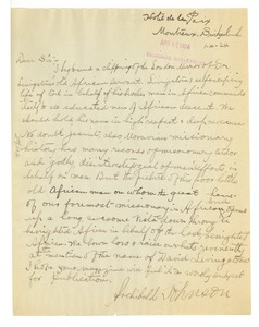 Thumbnail of Letter from Archibald Johnson to Editor of the Crisis