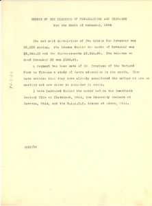 Thumbnail of Report of the director of publications and research For the month of November, 1924