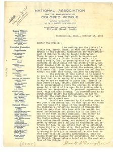 Thumbnail of Letter from N.A.A.C.P. Minneapolis Branch to Editor of the Crisis