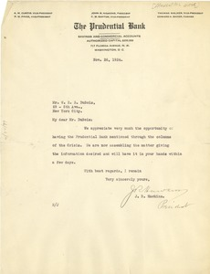 Thumbnail of Letter from Prudential Bank to W. E. B. Du Bois