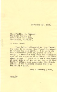 Thumbnail of Letter from W. E. B. Du Bois to Pauline S. Puryear