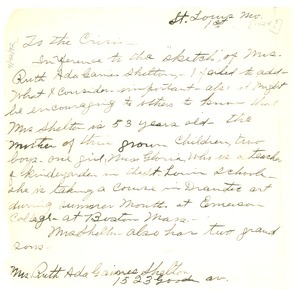Thumbnail of Letter from Ruth Ada Gaines Shelton to Crisis