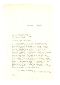 Thumbnail of Letter from W. E. B. Du Bois to J. H. Sherwood