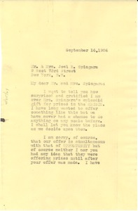 Thumbnail of Letter from W. E. B. Du Bois to Joel Elias Spingarn