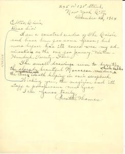 Thumbnail of Letter from P. Thomas to the Crisis