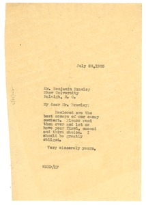 Thumbnail of Letter from W. E. B. Du Bois to Benjamin Brawley