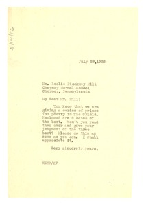 Thumbnail of Letter from W. E. B. Du Bois to Leslie Pinckney Hill