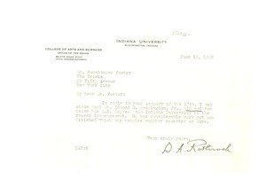 Thumbnail of Letter from Indiana University to Pocahontas Foster
