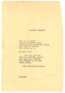 Thumbnail of Letter from W. E. B. Du Bois to International Newsreel Corporation