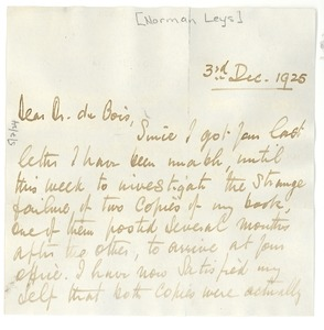 Thumbnail of Letter from Norman Leys to W. E. B. Du Bois