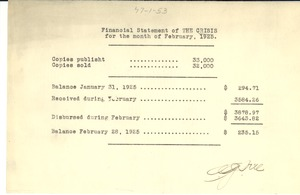 Thumbnail of Financial statement of the Crisis for the month of February 1925