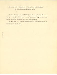 Thumbnail of Report of the director of publications and research for the month of November 1925