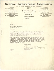 Thumbnail of Letter from National Negro Press Association to Editor of the Crisis