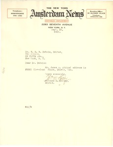Thumbnail of Letter from New York Amsterdam News to W. E. B. Du Bois