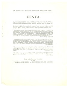 Thumbnail of Broadside for Kenya