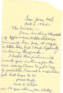 Thumbnail of Letter from Mrs. C. Ribbs to Crisis