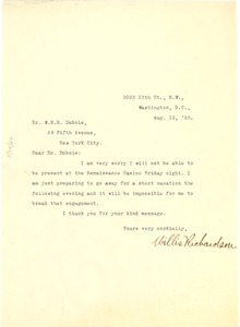 Thumbnail of Letter from Willis Richardson to W. E. B. Du Bois