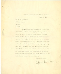 Thumbnail of Letter from Edwin D. Sheen to W. E. B. Du Bois