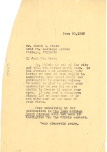 Thumbnail of Letter from Crisis to Edwin D. Sheen