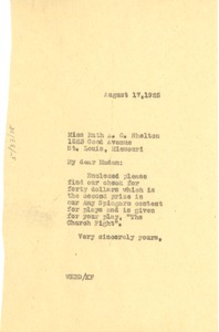 Thumbnail of Letter from W. E. B. Du Bois to Ruth A. G. Shelton