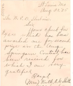 Thumbnail of Letter from Ruth A. G. Shelton to W. E. B. Du Bois