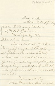 Thumbnail of Letter from Maude Simmons to Editor of the Crisis