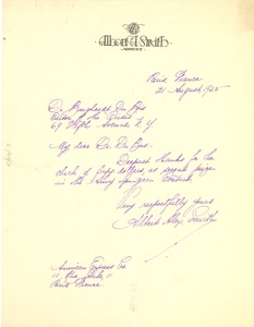 Thumbnail of Letter from Albert A. Smith to W. E. B. Du Bois