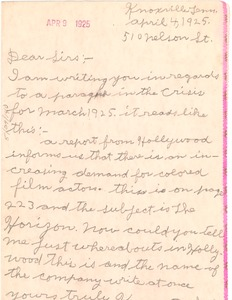 Thumbnail of Letter from Kenneth Smith to Crisis