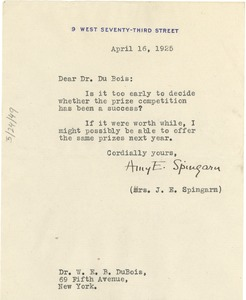 Thumbnail of Letter from Amy E. Spingarn to W. E. B. Du Bois