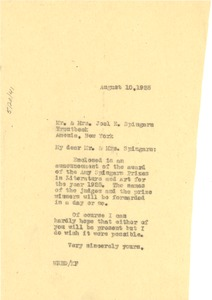 Thumbnail of Letter from W. E. B. Du Bois to Mr. & Mrs. Joel E. Spingarn