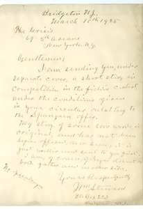Thumbnail of Letter from J. M. Steward to Crisis