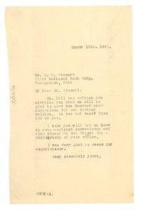 Thumbnail of Letter from W. E. B. Du Bois to W. R Stewart