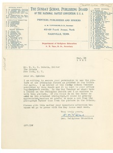 Thumbnail of Letter from Sunday School Publishing Board to W. E. B. Du Bois