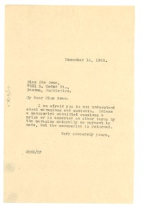 Thumbnail of Letter from W. E. B. Du Bois to Ida Swan