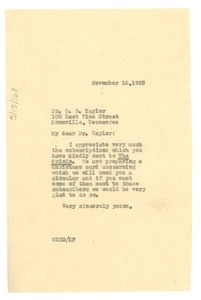 Thumbnail of Letter from W. E. B. Du Bois to O. B. Taylor