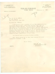 Thumbnail of Letter from Texas College to W. E. B. Du Bois