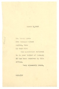 Thumbnail of Letter from W. E. B. Du Bois to Leroy Tubbs