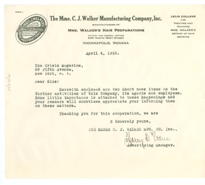 Thumbnail of Letter from Madam C. J. Walker Manufacturing Company, Inc. to Crisis