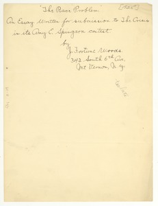 Thumbnail of Spingarn prize entry sheet