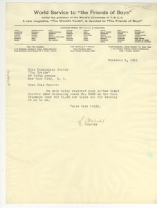 Thumbnail of Letter from YMCA World Service to Pocahontas Foster