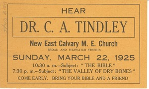 Thumbnail of Dr. C. A. Tindley sermon flier